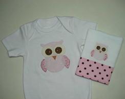 Body beb�+ fraldinha - coruja