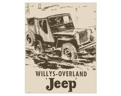 Placa MDF Retr�- Jeep Willys - 48