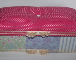 Caixa tecido e tampa fofinha rosa