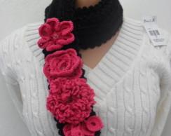 Cachecol Preto e Pink