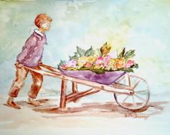 Aprendiz de jardineiro - aquarela