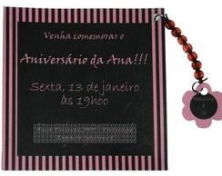 Convite Marrom e Rosa Flor