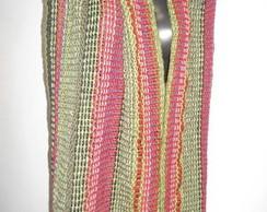 Cachecol , tons verde, roxo e vermelho.
