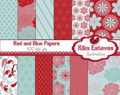 Pap�is Digitais Vermelho e Azul Claro
