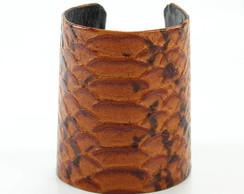 Bracelete de Cobra em Couro Caramelo