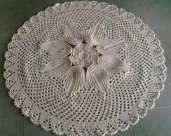 Tapete redondo de flor em croch�