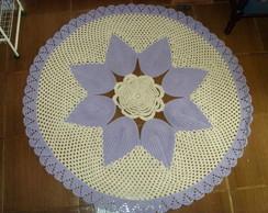 Tapete redondo de flor em croch� de 1,5m