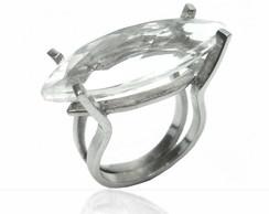 Anel Floq basics em prata 950 e cristal*