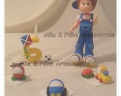Topo de Bolo Menino e Brinquedos