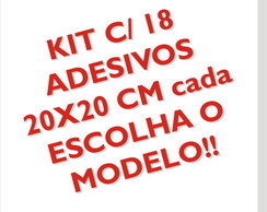 Kit adesivos 20x20cm c/ 18 FRETE GR�TIS!