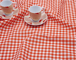 Toalha de mesa xadrez laranja