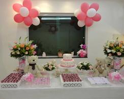Decora��o Ursinho rosa e branco