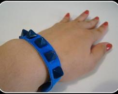 Pulseira de couro azul com spikes