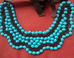 Maxi colar resina azul  correntes marrom