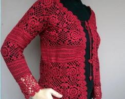 Casaco de croch� cor cereja