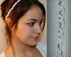Headband NOIVA c/ p�rolas tran�ado
