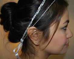 Headband NOIVA branco&strass prata