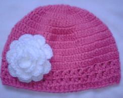 touquinha baby rosa/flor