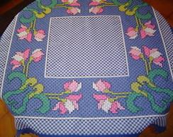 Toalha de Mesa Bordada em tecido xadrez