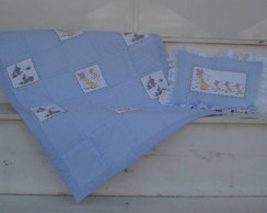 Kit edredon e travesseiro beb� patchwork