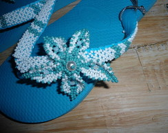 Chinelo customizado Azul Turquesa