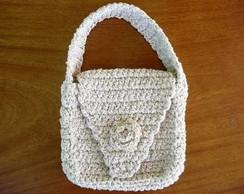Bolsa de m�o de linha em croch�.