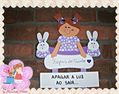 Placa de regras do quarto menina pantufa