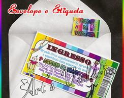 Convite Ingresso Tem�tico - 5cmx9,6cm
