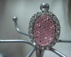 Anel vidro rosa com strass