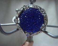 Anel de vidro azul com strass