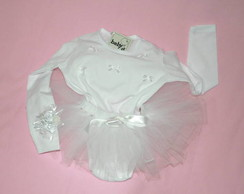 bailarina branca manga longa