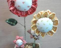 Arranjo de Flores de Fuxico - 3 Flores