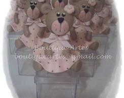 Lembrancinha ursinha marrom e rosa