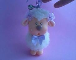 Chaveiro ovelha de pel�cia com Biscuit
