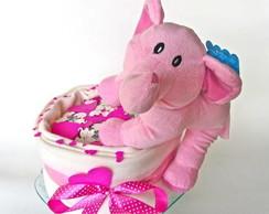 Bolo de Fraldas Elefante Rosa