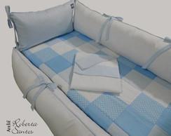 Kit ber�o-Patchwork azul e branco-8 p�s