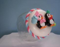 Potes Baleiro decorado com pinguins