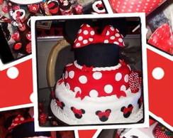 Bolo e Cupcakes Minnie Vermelha