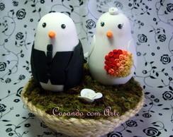 Pombinhos para topo de bolo no ninho