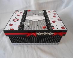 Porta j�ia vermelho, preto e branco