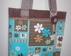 BAG FLOR AZUL COM MARRON