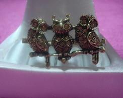 Lindo anel duplo ouro velho coruja