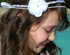 Headband com p�rolas&cord�es 01 flor