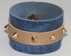 BRACELETE COURO SPIKE ROSE GOLD