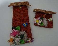Porta tesoura e porta agulha de casinha