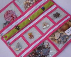 Porta Bijuterias de viagem verde e rosa