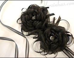 Head Band Com Rosas Preta