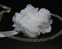 Tiara SWAROVSKI dourado &flor offwhite
