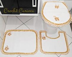 JOGO DE BANHEIRO - branco dourado