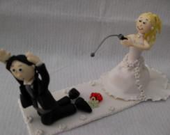 noiva pescando o noivo
